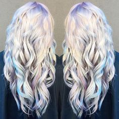 Holographic hair on long curly hair - soft pastel metallic holo hair color - silver, blur, purple, green ~~ by Ross Michael Salon