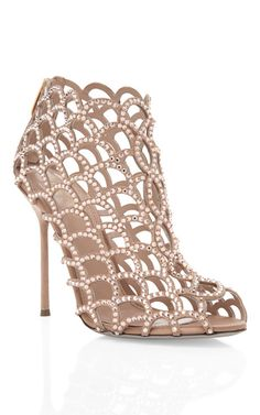 Mi piace molto!  Nude Jeweled Bootie by Sergio Rossi Now Available on Moda Operandi