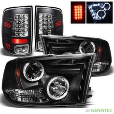 For 2009-2014 Dodge Ram Twin Halo LED Projector Headlights+LED Tail Lamp Lights