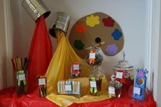 artist birthday party display Love the cloth coming out of the cans. Art Themed Party, Themed Parties, Back To School Art, Artist Birthday, School Parties, Birthday Fun, Birthday Ideas, Cake Birthday, Party Planning