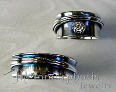 Free-form wedding band set. Ladies free-form, band style engagement ring  with matching gents wedding band.