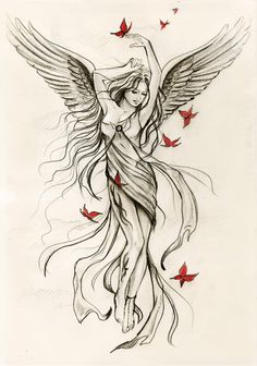 angel tattoo (instead of butterflies, have cardinals)