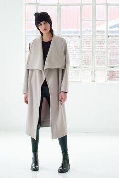 Winter-Mantel, grau, beige, lang / winter coat, grey, beige, long by marcellamoda via DaWanda.com
