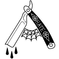 Cut em' all #razor #tattoo #hometattoo #illustration #blackandwhite