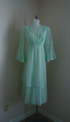 Vintage Silfra Pale Mint Green Chiffon Nightgown by MadMakCloset