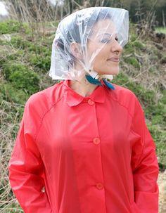 Clear plastic rainbonnet Rain Bonnet, Plastic Mac, Rubber Raincoats, Rain Suit, Pvc Raincoat, Rain Wear, Rain Jacket, Windbreaker, Rain Coats