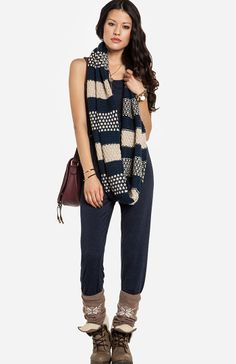 Palm Springs Staycation at DailyLook Jersey Knit Jumpsuit $39.99 Stripes & Spots Infinity Scarf $24.99 Dirty Laundry Raeven Boots $84.99