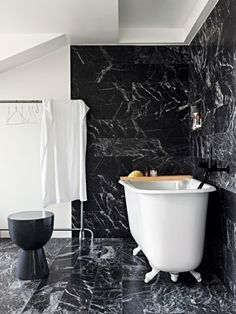 Black marble tiles are ideal for incorporating black and creating a luxurious lo. Black marble til Black Marble Tile, Black Marble Bathroom, Black Tiles, Marble Tiles, Bad Inspiration, Bathroom Inspiration, Bathroom Furniture, Bathroom Interior, Bathroom Remodeling
