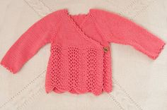Hand knitted baby cardigan 100% merino wool-Childrens Clothing- Ready to ship