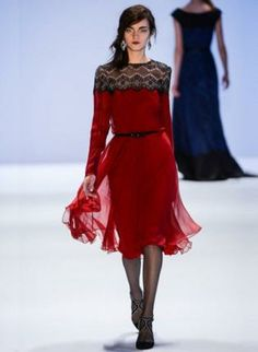Red Day Dress - Bqueen Lace Pleated Long Sleeve  Dress S013741  $139