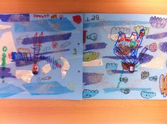 P4 2014-2015: TAPA TERCER TRIMESTRE: en cartolina blava es fa un collage amb papers de diferents textures i dibuixos d'animals del fons del mar. En un full transparent es posa la foto del nen/a i es dibuixa amb retoladors permanents el cos simulant un submarinista. finalment es col·loca el full transparent a sobre del collage.