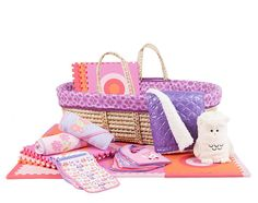 Pink//Orange Tadpoles Cotton Patchwork Moses Basket Set