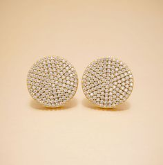 View our unique & luxury Swarovski Gold Pave Disc Sterling Silver Earrings a perfect gift for a friend or yourself. Visit Oneiro Jewelry and shop today!