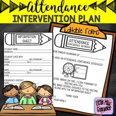 Editable Attendance Intervention Plan by Little Miss Counselor School Counselor Office, Elementary School Counselor, School Social Work, School Counseling, Elementary Schools, Attendance Incentives, Student Attendance, Attendance Ideas, Incentive Ideas