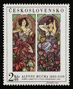 "Print of a vintage postage stamp from Czechoslovakia depicting two images from the series ""Precious Stones"" by Czech art nouveau illustrator and painter Alphonse Mucha. In this beautiful series, idealised female figures personify four precious stones. In each panel, the upper part of the composition is dominated by the female figure, while the lower part features flower designs whose colours echo that of the particular gemstone."