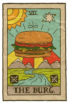 """joshlafayette: """"The good ol' burger for Tarot Tuesday. Prints and more in my shop! Pizza Art, Daily Drawing, Photo Wall Collage, Vintage Cartoon, Poster Prints, Art Prints, Tarot Cards, Illustration Art, Drawings"""