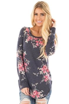 Lime Lush Boutique - Navy French Terry Sweater with Rose Floral Print, $34.99 (https://www.limelush.com/navy-french-terry-sweater-with-rose-floral-print/)