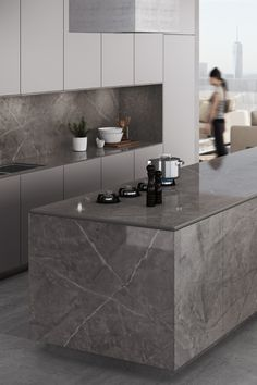 Dekton Stonika Collection blends natural stone colours with the highest thermal and scratch resistance to create unique glossy surfaces. Dekton Korso countertop is based on beige, earthy and… Grey Kitchen Interior, Grey Kitchen Designs, Luxury Kitchen Design, Kitchen Room Design, Kitchen Cabinet Design, Home Decor Kitchen, Home Kitchens, Kitchen Furniture, Küchen Design