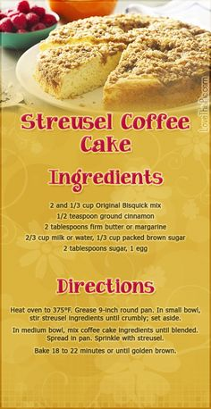 Strausel Coffee Cake desert recipe recipes ingredients instructions desert recipes easy recipes recipe ideas for dinner recipes for kids recipes to try