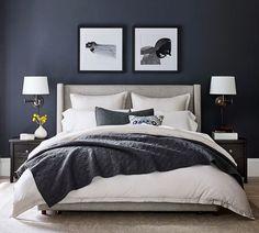 Upholstered Platform Bed, Upholstered Beds, Tufted Bed, Tall Headboard, Light Headboard, Bedroom Furniture, Bedroom Decor, Bedroom Ideas, Apartment Furniture