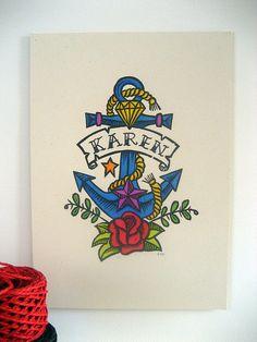 Personalised Tattoo Linocut Print on Etsy, £15.00
