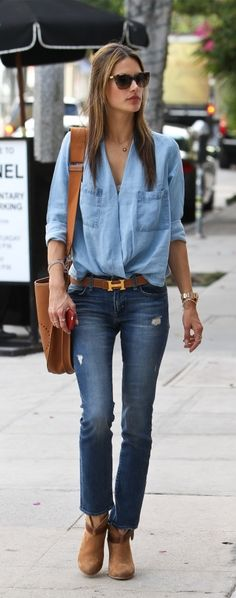 "Always in Style ""denim On denim "" with brown Accessories"