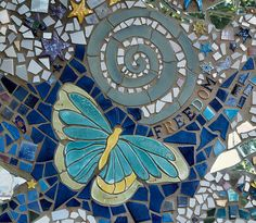 "Mosaic ""Magic Garden"" in Doylestown PA pocket park.by Katia McGuirk Mosaic Birds, Mosaic Wall, Mosaic Glass, Glass Art, Stained Glass, Mosaic Crafts, Mosaic Projects, Art Projects, Stained Glass Panels"