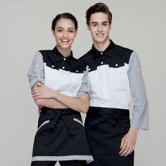 (5 get 10% off,10 get apron)Woman/man coffee shop restaurant hotel short sleeve waiter shirt uniform work wear work clothes