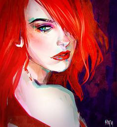 anime, art, blue eyes, draw, girl, hair, illusion, painting, red hair, red lips, streili