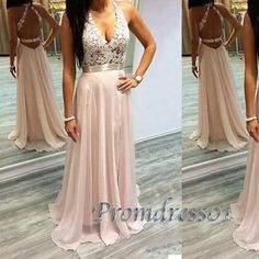 Cute v-neck open back pale pink lace chiffon long prom dress, ball gown, prom dresses 2016