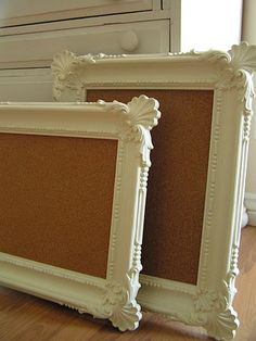 Thrift shop frames, Spray Paint and Cork Boards.  Pretty & Cheap message board.