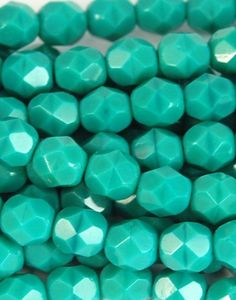 Persian Turquoise Opaque Czech Glass Faceted Bead 6mm Round - 25 Pc