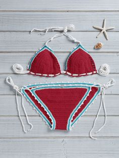 Fashion Crocheted String Bikini Set RED: Bikinis | ZAFUL | http://www.zaful.com/fashion-crocheted-string-bikini-set-p_184118.html