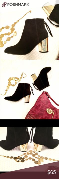NWOTB Steve Madden Cynthia Suede Booties Gold Heel Stunning new (no box/tags) suede booties from Steve Madden with gold heel.  Back zipper closure. Size 6.5. Retails for $139.  [Purse and necklace also for sale] Steve Madden Shoes Ankle Boots & Booties