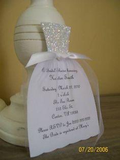 Bridal Shower Invites. wedding dressses, wedding showers, dresses, bridal shower invitations, glitter, diy wedding, cards, parti, bridal showers