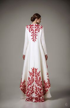 Haute Couture Caftan 2016 Special Occasion Dresses With Red Embroidery Robe White Long Sleeve Muslim Evening Dress Muslim Fashion, Modest Fashion, Hijab Fashion, Indian Fashion, Fashion Dresses, Muslim Evening Dresses, Muslim Dress, Evening Gowns, New Dress