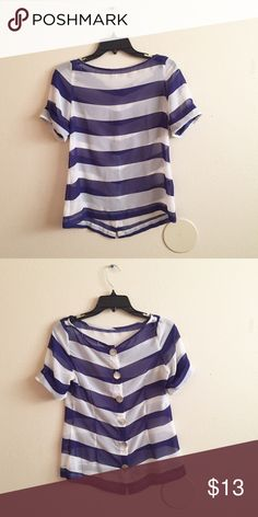Pretty Striped Top Pretty and comfortable blue and white striped top! Sheer. Buttons on the back. Used gently so in great condition! Size Small. Tops Blouses