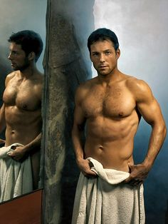 """Lee """"Apollo"""" Adama from Battlestar Galactica... in nothing but a towel. I trust that I do not have to explain why this makes me very... very... happy."""