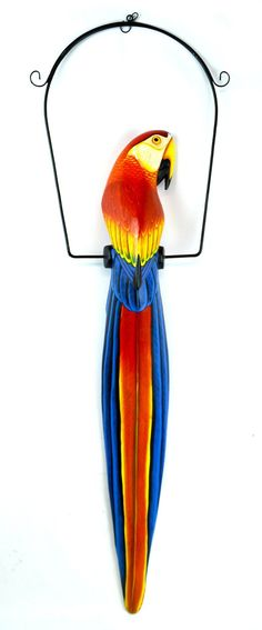 "38"" Inch Hand Painted Wooden Parrot Bird Hanging Statue Red Blue Tiki Art, Parrot Bird, Mexican Art, Accent Rugs, Amazon Art, Sewing Stores, Red And Blue, Arts And Crafts, Tropical"