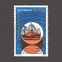 350th Anniversary of Dirk Hartog's Landing. Australia, 1966. Design: Frank Eidlitz. #graphilately #mnh #graphiAustralia