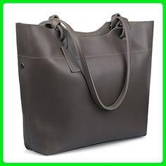 Jack&Chris®Fashion Women Ladies' Genuine Leather Tote Bag Handbag Shoulder Bag,YSZ105 (Coffee Black) - Shoulder bags (*Amazon Partner-Link)