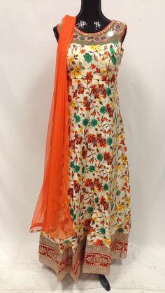 Silk print Long Anarkali Set - Orange