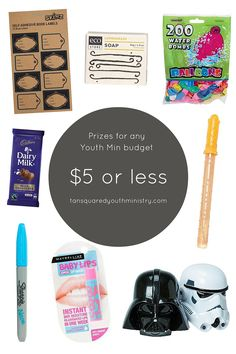 Prizes to suit any Youth Min budget! $5 or less.