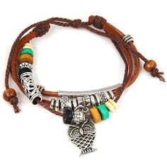 Owl Pendant Wood Multicolor Beads Adjustable Drawstring Wirstband Leather Bracelet World Pride, http://www.amazon.com/dp/B009Z9W1OA/ref=cm_sw_r_pi_dp_nqUdrb1BQBHYX