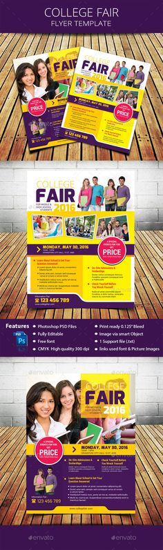 College Fair Flyer — Photoshop PSD #campus #student • Available here → https://graphicriver.net/item/college-fair-flyer/16215487?ref=pxcr