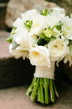 All white bridal bouquet | Photography: Amanda Forbes - amandaforbes.com  Read More: http://www.stylemepretty.com/2014/06/24/rustic-beaver-creek-mountain-wedding/