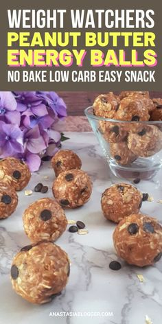 Recipes Snacks Low Calories Quick Weight Watchers Peanut Butter Energy Balls - No Bake Low Carb Easy Snack Weight Watcher Desserts, Weight Watchers Snacks, Weight Watchers Meal Plans, Weight Watcher Breakfast, Weight Watcher Cookies, Diet Meal Plans, No Bake Snacks, Easy Snacks, Healthy Snacks