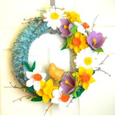 Spring Chick 16 inch Felt and Yarn Wreath by EllaBellaMaeDesigns, $68.00