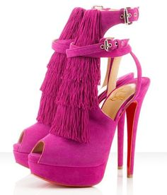 Pink fringe shoes