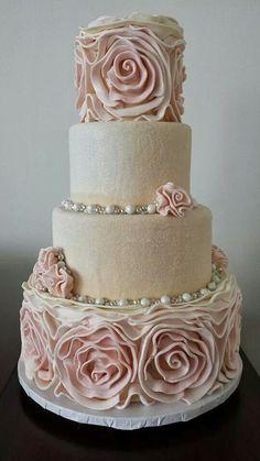 ... pearl rose, swir rose, ruffl rose, pink anniversary cake, ruffle cake, rose cake, white wedding cakes
